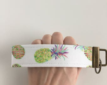 Key Fob Wristlet - Watercolor Pineapples