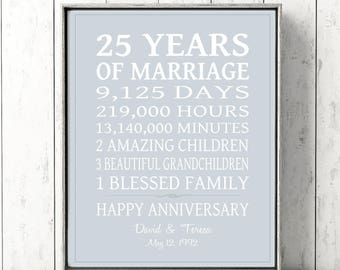 25th Anniversary Gift PERSONALIZED Wedding For PARENTS Silver 25 Years