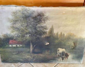 Antique 19th Century Oil on Canvas Painting, Cows, Landscape