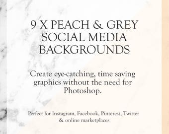 Social Media Templates - Peach & Grey - Shop Graphics - Social Media Templates Kit - Time Saving Shop Graphics