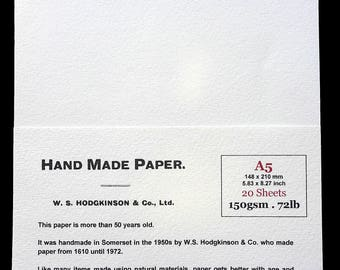 20 Sheets of handmade vintage paper for inkjet, invitations, watercolour, printmaking, bookbinding. A5 (148 x 210 mm, 5.83 x 8.27 inches)