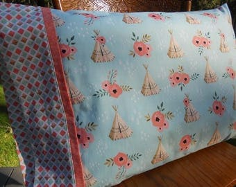Kids Pillowcase, Girls Pillowcase, TeePees, Mint and Coral, Standard Size Pillowcase