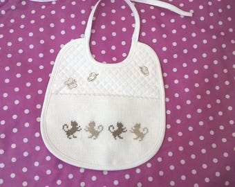 cats, butterflies, hand embroidered Terry baby bib