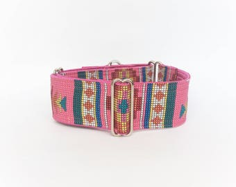 Pink Santa Fe martingale collar (dog collar, greyhound martingale, southwest colorful fun navajo pink orange turquoise red cotton satin)