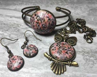 Multicolored Owl Jewelry Set