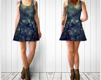 Flare Dress, Skater Dress, Teen Clothing, Ethereal dress, Reversible dress, Pine Flare Dress, Blue Green Skater Dress, Spandex Mini Dress