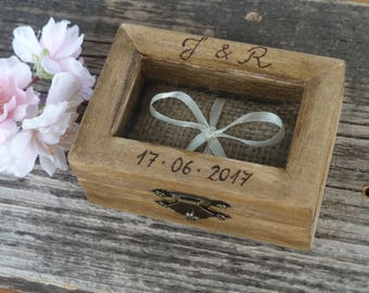 Wedding Ring Box, Rustic Ring Pillow Wooden Ring Box Country Chic Ring Holder, Rustic Wedding Decor, Wooden Wedding Ring Box