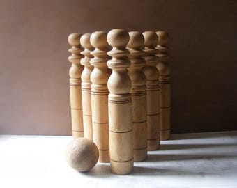 French Antique LARGE Set of  10 Wood Bowling Skittles Game./Height 15.6""