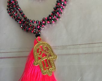 Gold Pendent >Neon Pink Long Tassel Necklace > Crystal Beads > Stunning New Design In Cinta Kamu Store > Trends > Boho Style Accessory
