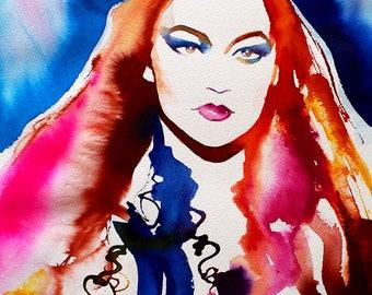 Colourful Fashion Illustration Original Watercolor Painting Salon Decor Runway Model Catwalk Bright Colours