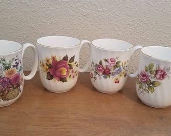 Vintage Duchess Fine Bone China Flower Mugs - Set of 4