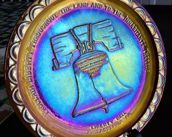 Liberty Bell Carnival Glass Plate
