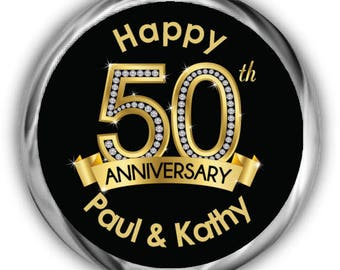50th Anniversary Stickers • Personalized Anniversary Labels • Diamond Anniversary Kisses Sticker