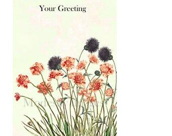 Floral greeting card, flowers card, bespoke card, fine art card, handmade greeting card, customised card, birthday greetings, blank card