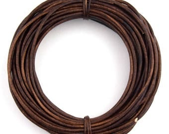 Brown Distressed Natural Dye Round Leather Cord 1.5mm 50 meters (54 yards)