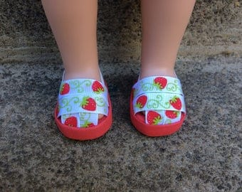 "S.O. Doll shoes. 14.5"" dolls shoes. Strawberry. Wellie wisher shoes. Stocking stuffer!"