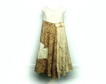 Linen Dress, Shabby Chic Dress, Long Linen Tunic, Boho Chic Clothing, Rustic Clothing, Mori Girl Style Upcycled Clothing by Primitive Fringe