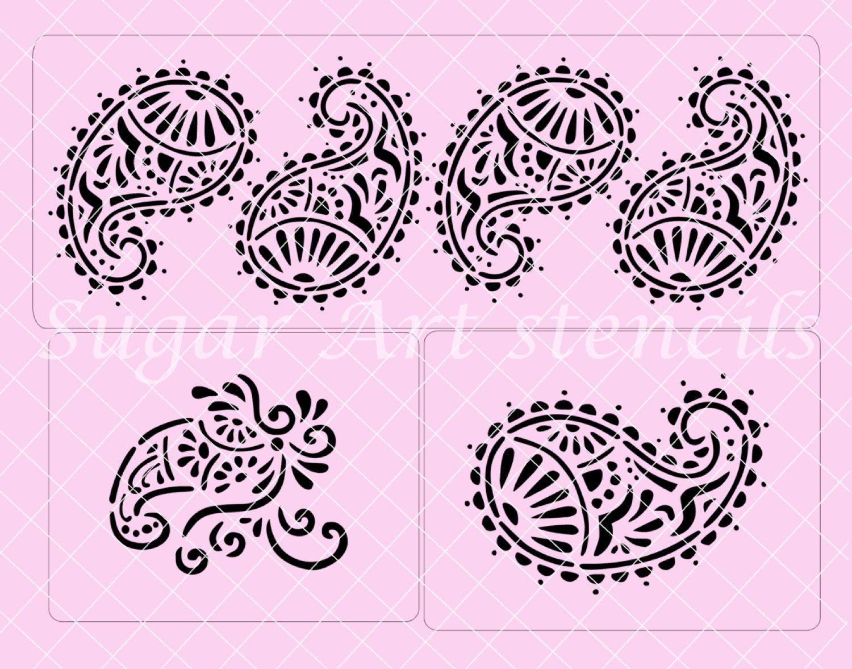 Mehndi Decoration Germany : Cake stencils paisley henna mehndi decorating sl