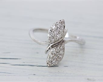 Nature Inspired Engagement Ring | Unique Ring | Vintage Floral Ring | 14k White Gold Ring | Diamond Promise Ring | Estate Ring | Size 6.25