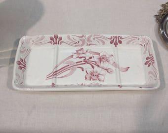 Porta sapone francese in ceramica, decorazioni fiori rossi, tre scomparti