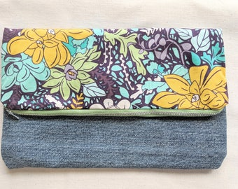 Succulent Foldover Clutch /  Magnetic Snap / Upcycled Denim