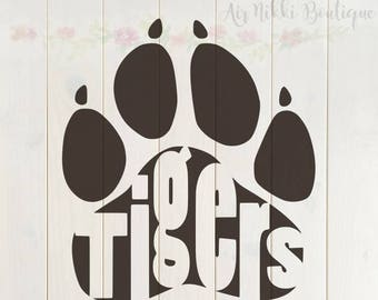 Tiger Paw Print SVG, PNG, DXF files, instant download