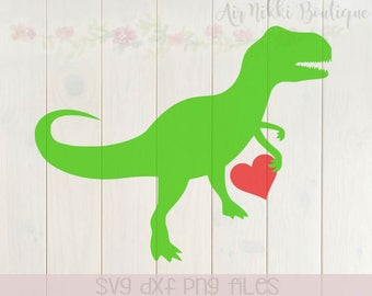 T-Rex with a heart, valentine's day SVG, DXF, PNG files, instant download, dinosaur, boy, girl