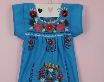 3-6 Months-Colorful Baby Handmade Mexican Dress-Turquoise-Hand Embroidered-Cake Smash-Photoshoot Outfit-Wedding-Sister-Festival-Birthday