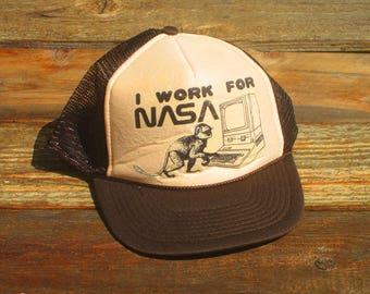 Vintage I Work For NASA Snapback Mesh Hat