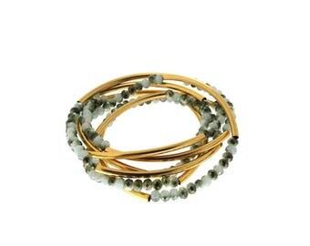 Green-White crystal beaded bracelet