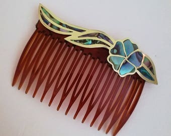 Vintage Hair Comb, Bridal Hair Accessories, Woodland Wedding, Romantic Gift, Bridesmaid Hair Accessories, Vintage Abalone, Made in Mexico