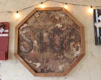 Vintage Framed Stop Sign