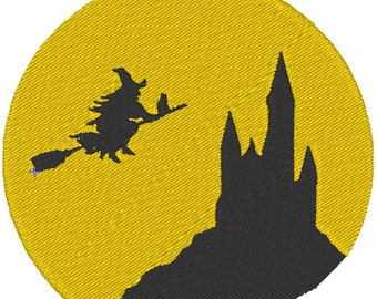 Witch and Castle Halloween Machine Embroidery Design 4x4 and 5x7 Instant Download Linda's Hemstitching