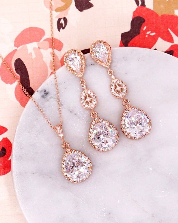 Rose Gold Luxe Cubic Zirconia Teardrop Earring - earrings, bridal gifts, drop, dangle, rose gold wedding, blush, bridesmaid earrings