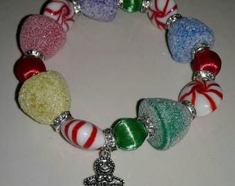 Christmas Gingerbread man peppermint gumdrop bracelet