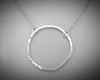 Circle Necklace Silver, Infinity Necklace, Eternity Necklace, Sterling Silver Necklace