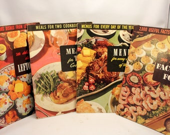 Lot 4 Cookbooks Meals for Two Leftovers Menus Facts About Food  Culinary Arts Institute 1940s 50s Soft Cover  No 2 No 21 No 23 and No 24