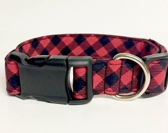 Buffalo Plaid Dog Collar - Christmas - Holiday - Fabric - Adventure - Lumberjack - woods - Forest - Dog Collar - tartan -