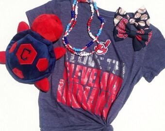 Cleveland Indiands Baseball Handmade Fabric Hair Clip or Headband Bows