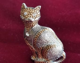 Vintage Mixed Metal Cat Pin with Rhinestones