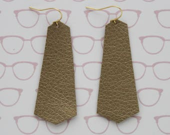 Gold faux leather dangly earrings