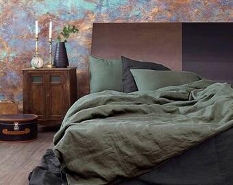 Moss Green Linen Duvet Cover/ Natural Linen/ Softened Linen/ Green Linen/ Queen Bedding