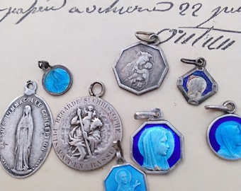 French antique 8ps Antique sterling silver medal rosary blue enamal  virgin mary reliquary sacred heart souvenir our lady Lourdes St Theresa