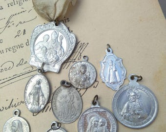 Large lot 9pcs French antique religious medal bronze silver aluminium N D de lourde Virgin mary Jesus sacred heart crucifix cross reliquary