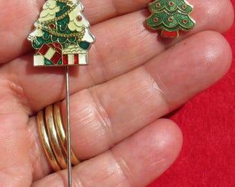 Retro  Enameled Christmas Tree Stick Pin Lapel Pin Lot One Marked Hallmark