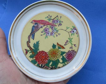 Vintage Decorative Small Plate Birds Flowers Japan