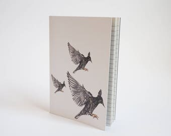 A6 Notebook - Starling print Notebook, A6 Sketchbook Notepad.