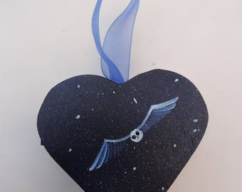 "Hand Painted Hanging Heart Shaped ""Owl"" Box"
