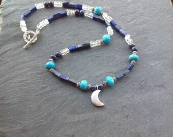 Lapis lazuli necklace/turquoise/Karen Hill Tribe silver/crescent moon/Gemstone/Bali silver/September birthstone