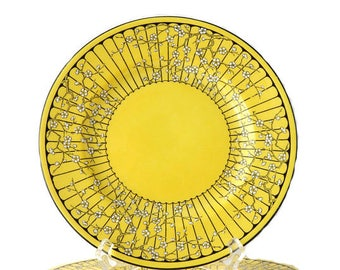 "Vintage Crown Staffordshire Plate Set of Six Porcelain Cherry Blossom 8"" Salad Plates Side Dessert Plate Yellow Black Enamel White England"